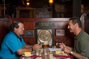 July 21, 2015, Boston, MA: Former Olympic hockey player Mike Eruzione is interviewed by New York Yankees Director of Publications Al Santasieri at the Kennedy Booth inside the Union Oyster House in Boston, Massachusetts Tuesday, July 21, 2015. (Photos by Billie Weiss/New York Yankees)